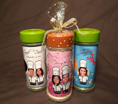 Dennis and Sylvia Lai specialize in producing personalized bottled spices as wedding favors.