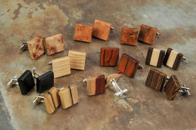 Phil and Teresa Holcomb make high-end handcrafted reclaimed wooden items, such as cufflinks, money clips, bookmarks, bottle stoppers, and other gifts that appeal to the wedding market.