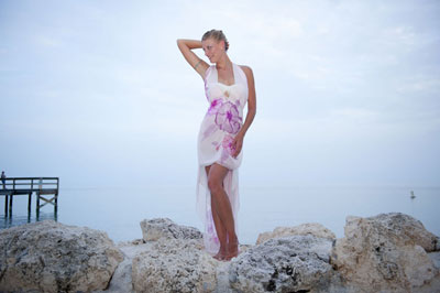 Jasmine Sky custom-designs and hand-paints silk beach wedding dresses.