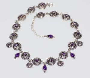 Angela Heim Granulated Amethyst Necklace in Silver Photo by Kimberly Schlegel 300x258