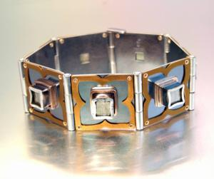 Melody Armstrong Hinged Pyrite Cube Bracelet Photo by Artist 300x251